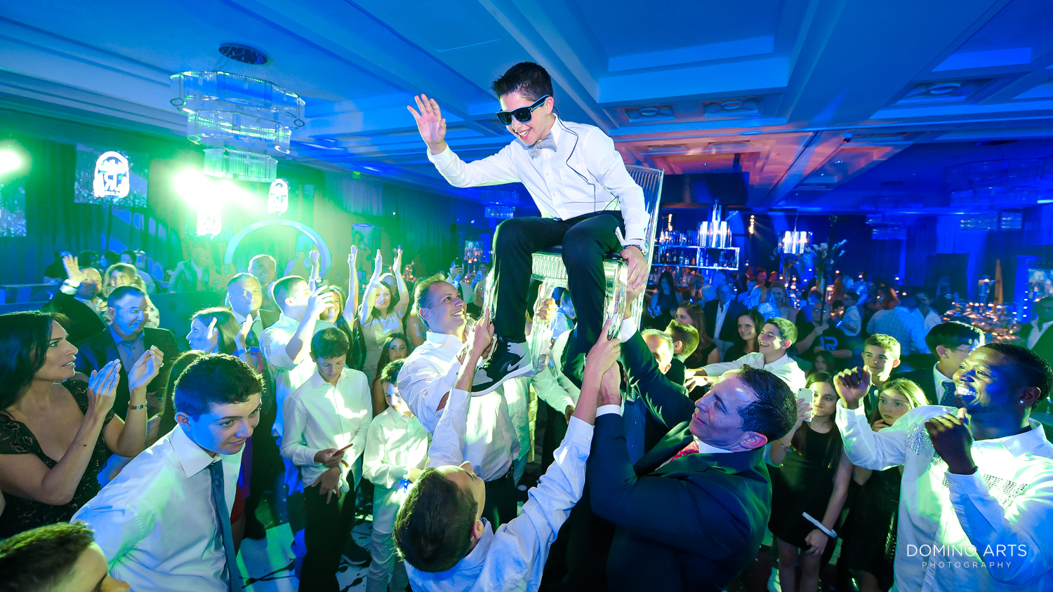 Unique and trendy Bar Mitzvah party hora at Woodfield Country Club Boca Raton