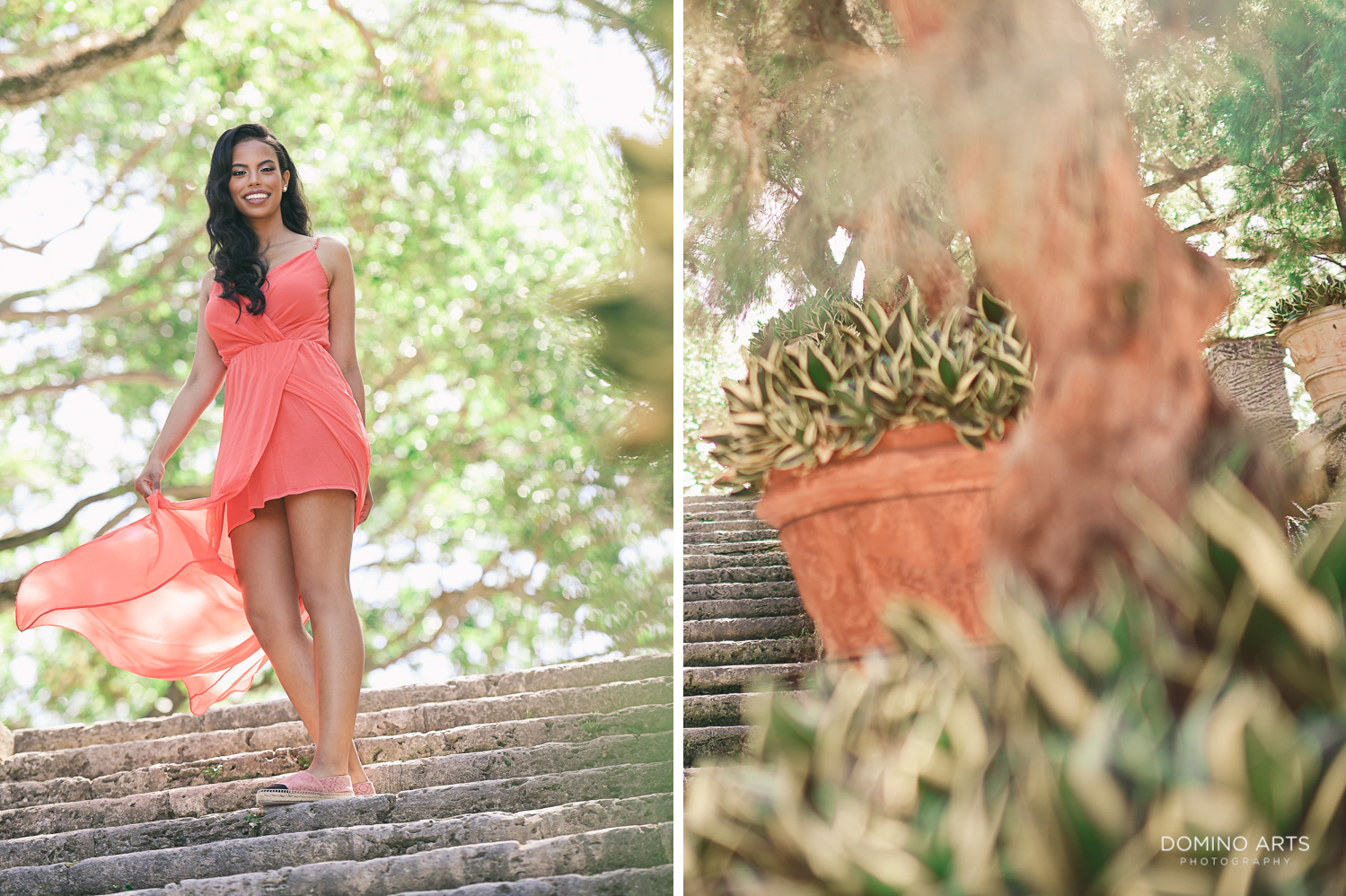 Sexy, fun and romantic engagement pictures at Vizcaya Museum and Gardens, Miami