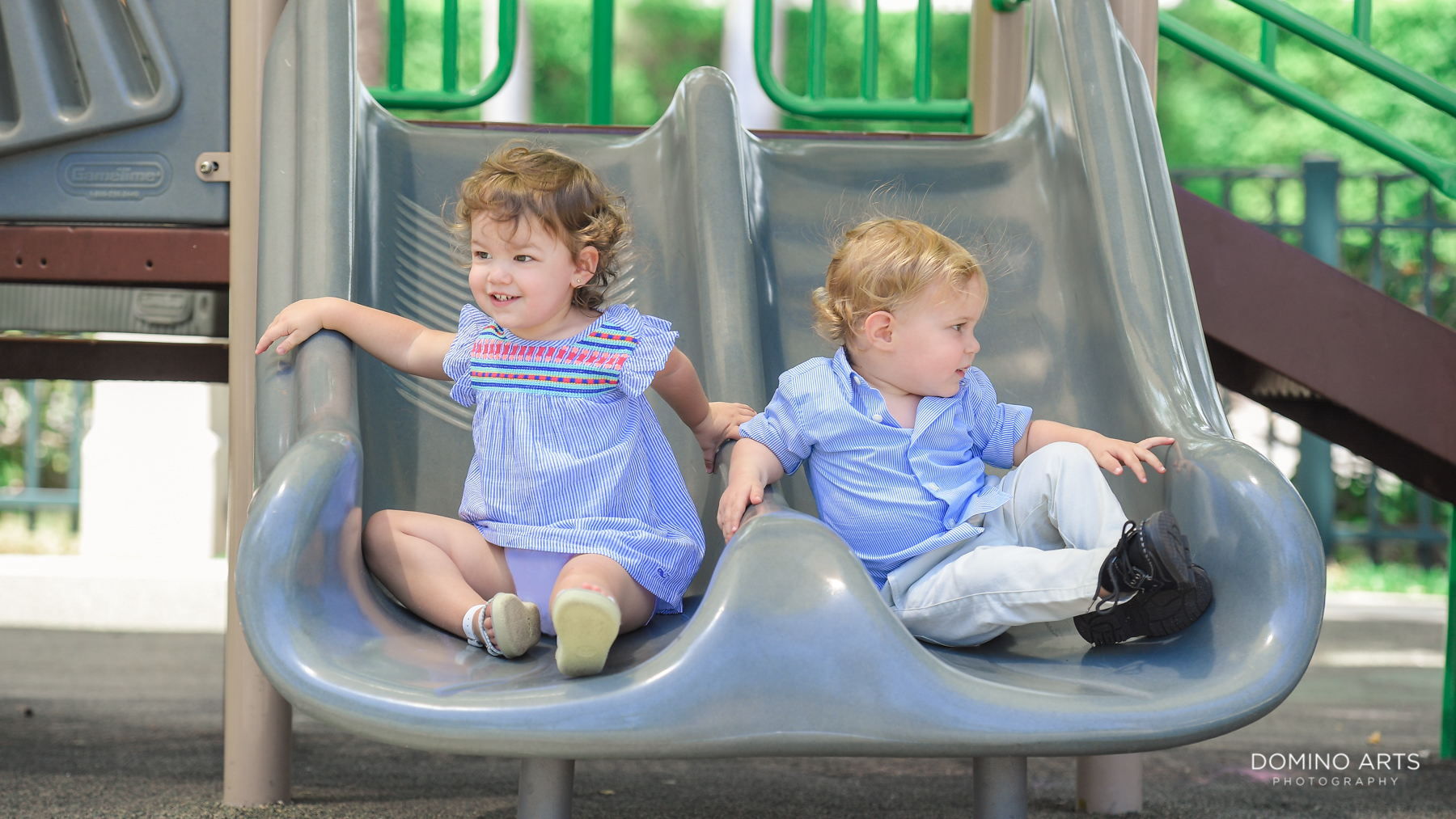 Cute Outdoor Kids Professional Photography of kids on slide in Miami