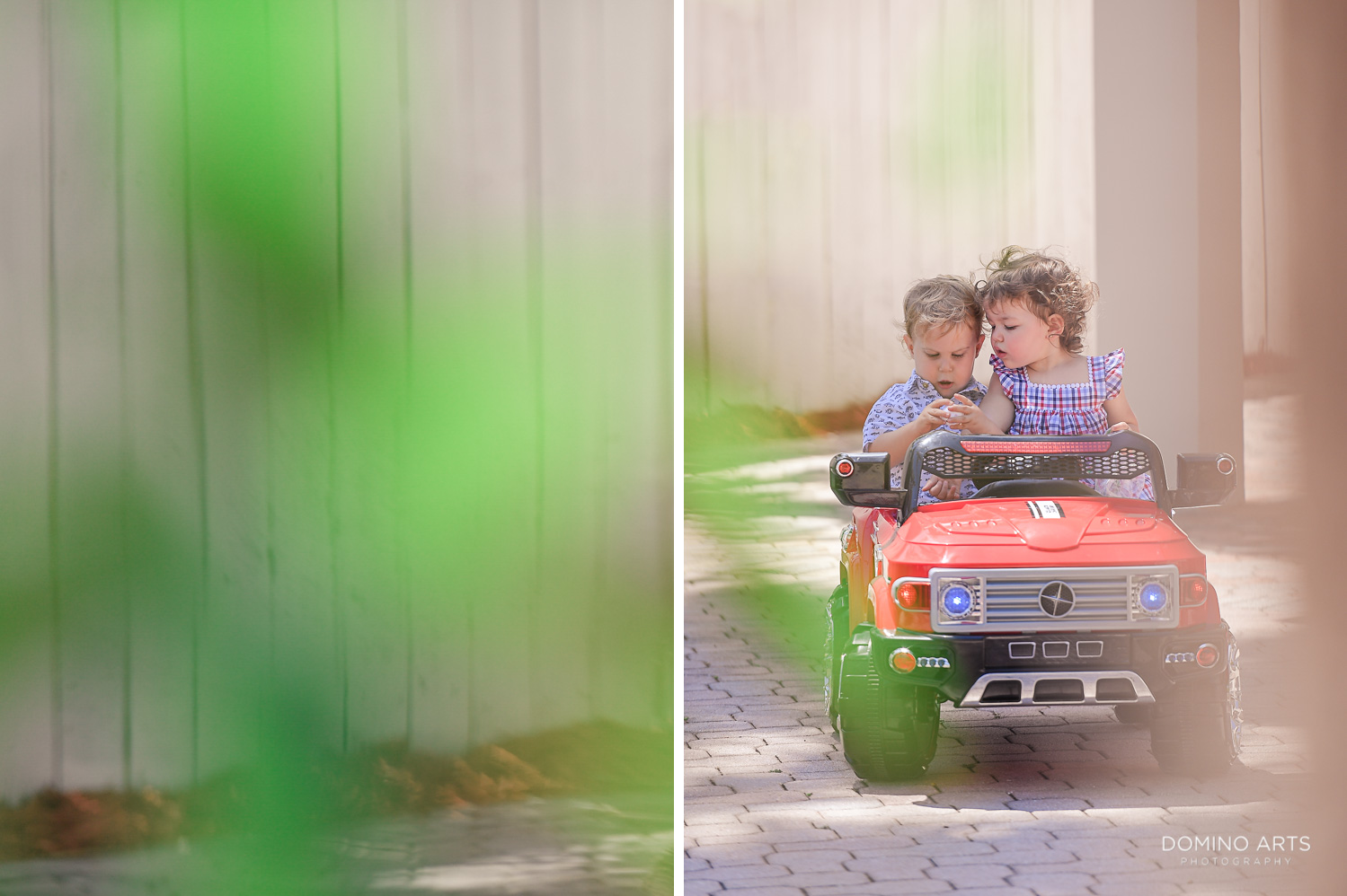 Cute children professional photography kids in a red car