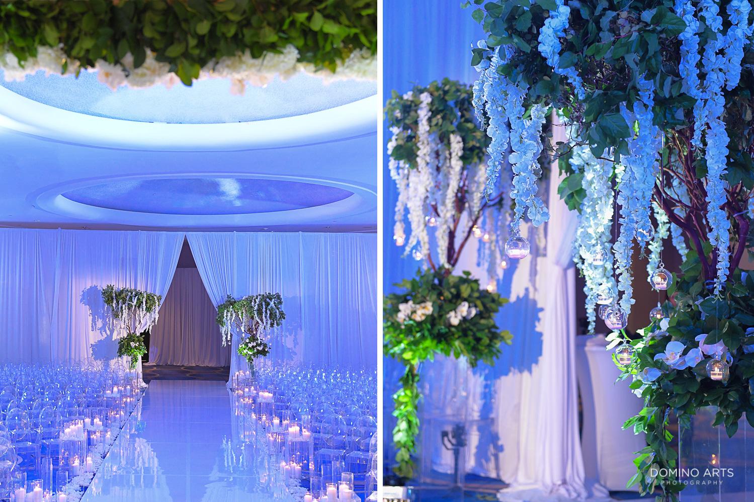 best jewish wedding decor with blue flowers