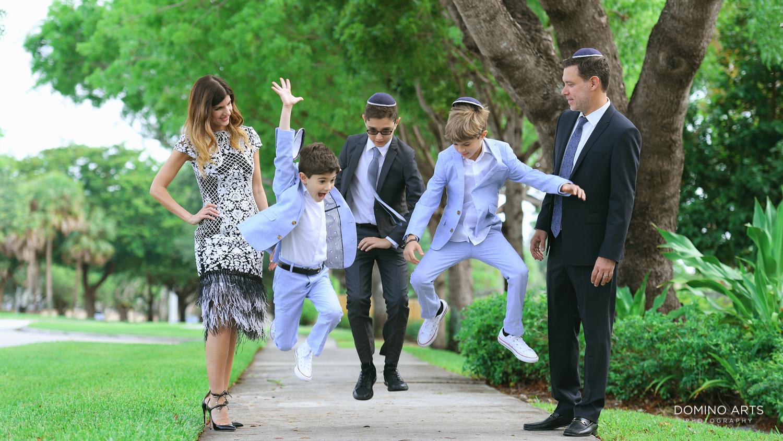 Fun Family photography of Bar Mitzvah at Tample Chabad of Plantation