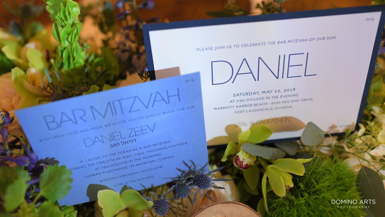 Unique Bar Mitzvah invitation in blue
