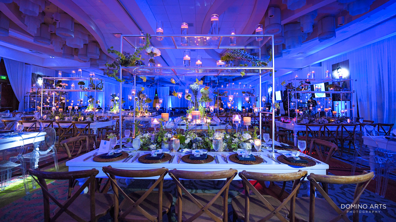 Unique and contemporary Bar Mitzvah decor with flowers and blue at Marriott Harbor beach Fort Lauderdale