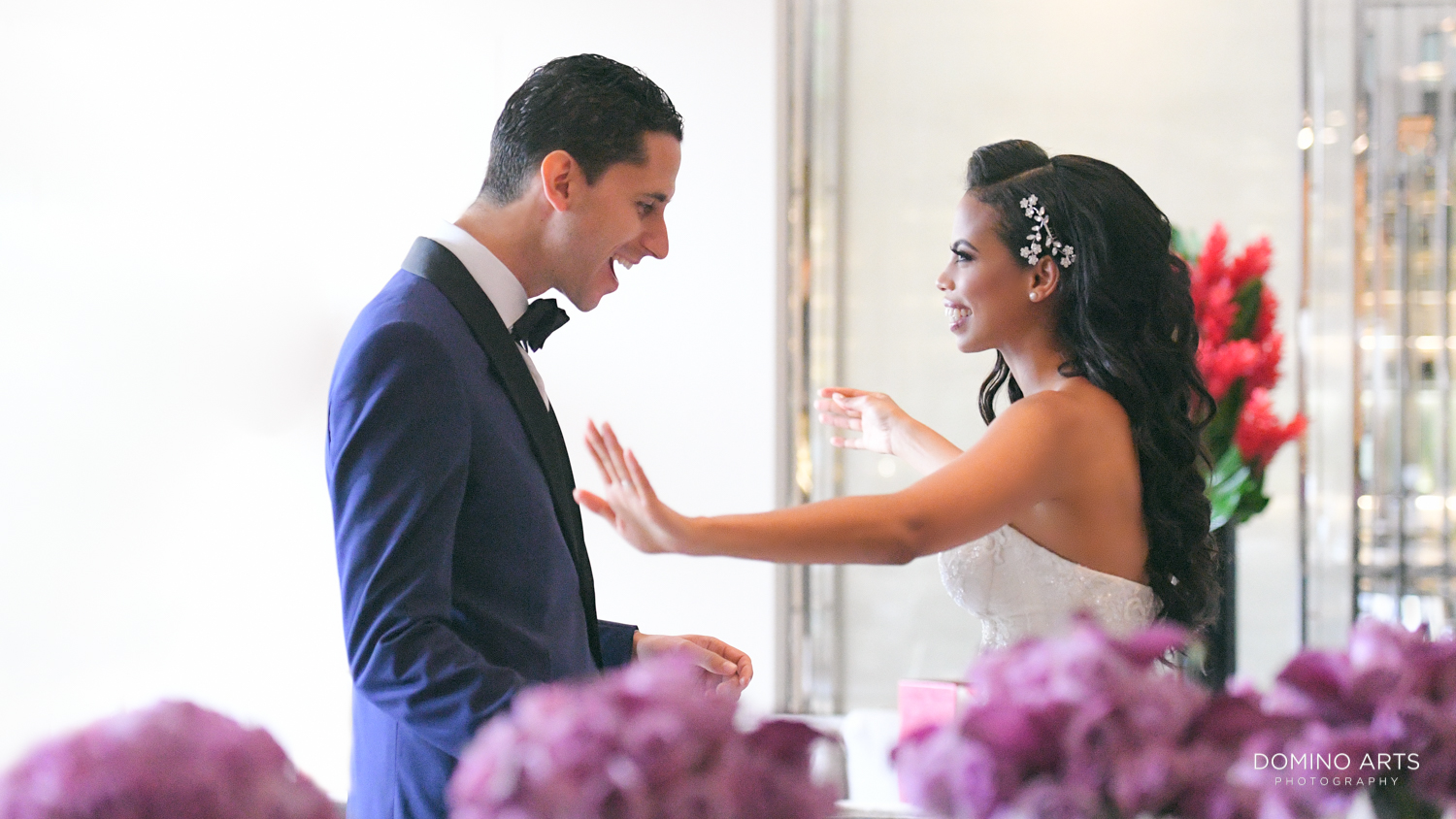 First look of bride and groom pictures at The St. Regis Bal Harbour