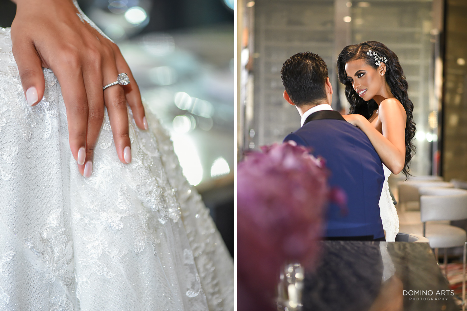 Fashion wedding pictures of bride and groom and ring at The St. Regis Bal Harbour