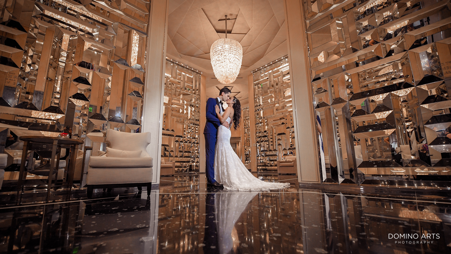 Fashion wedding pictures of bride and groom at The St. Regis Bal Harbour