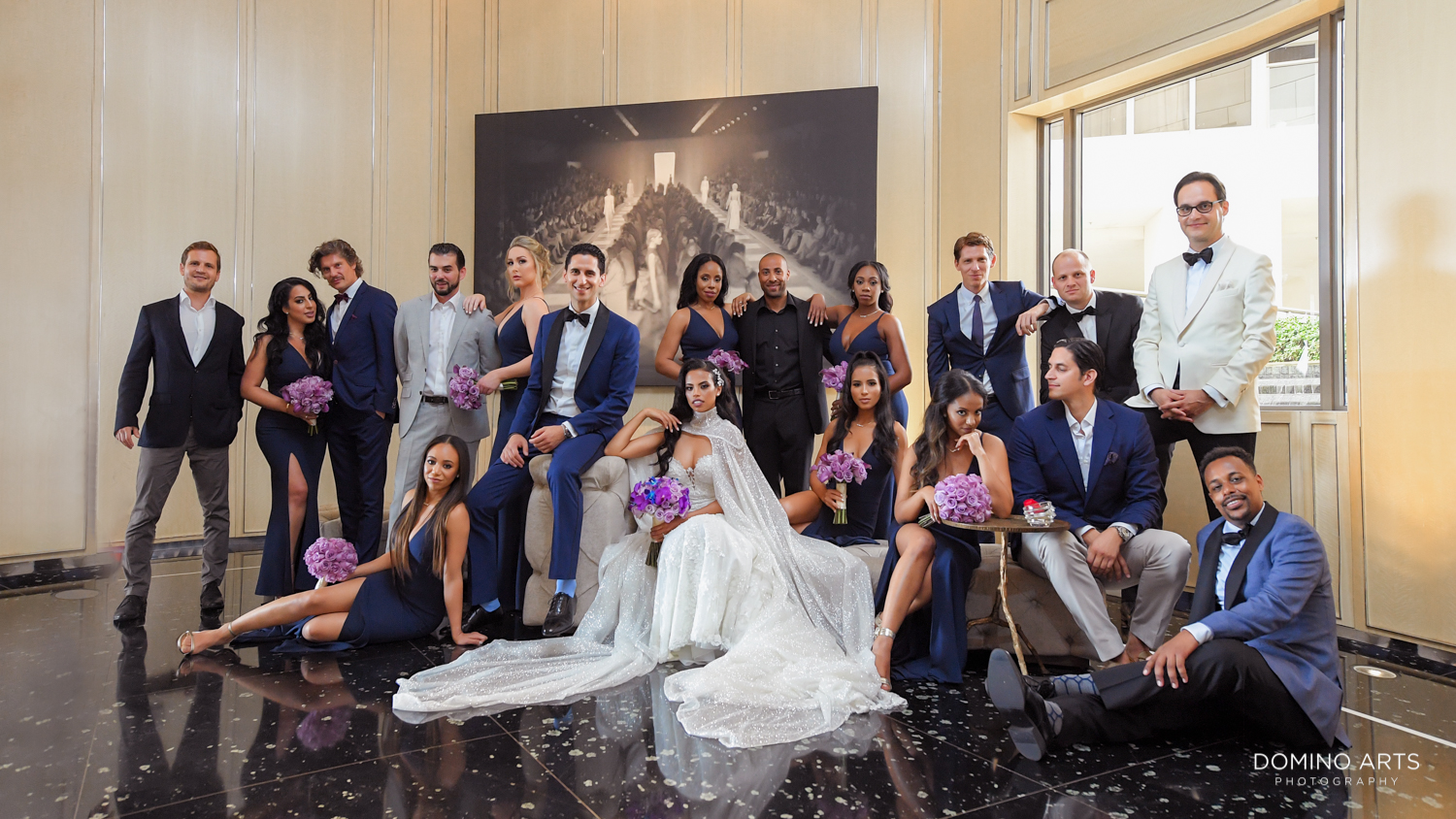 Fashion wedding pictures of wedding party at The St. Regis Bal Harbour