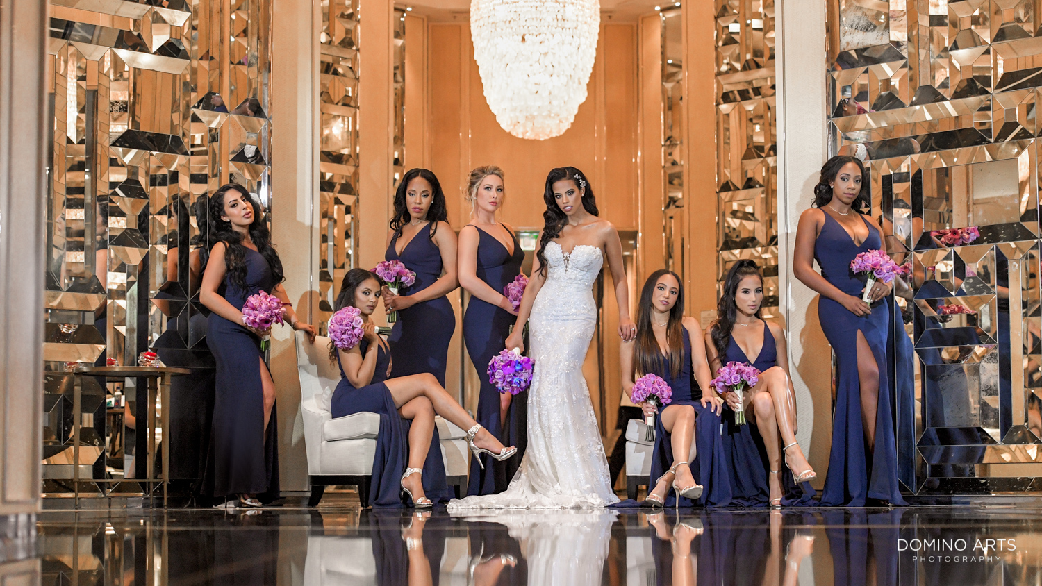 Fashion wedding picture of wedding party at The St. Regis Bal Harbour