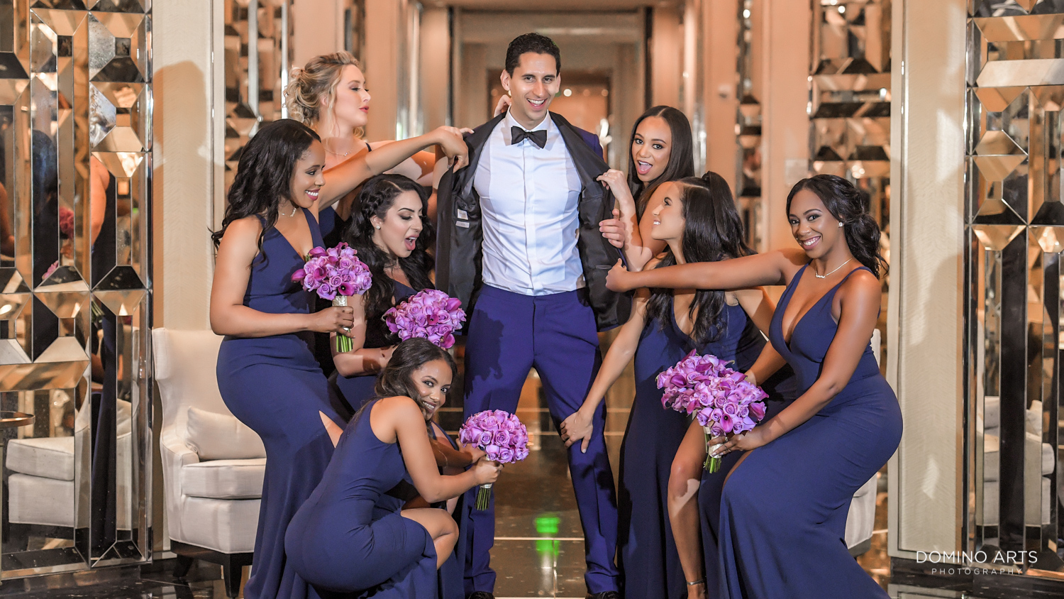 Fun wedding party pictures at The St. Regis Bal Harbour