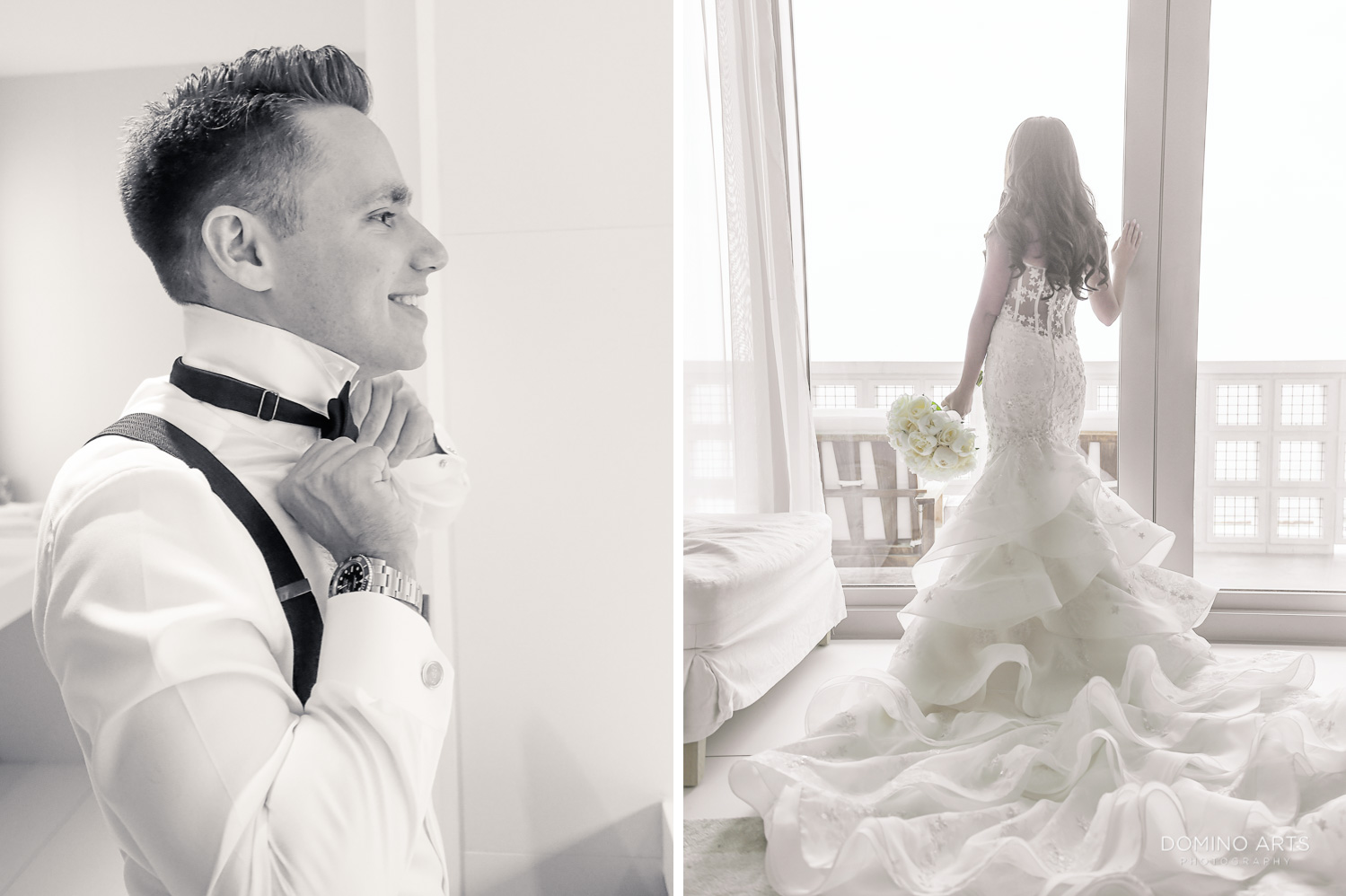 Best wedding picture of bride and groom getting ready at The Miami Beach Edition