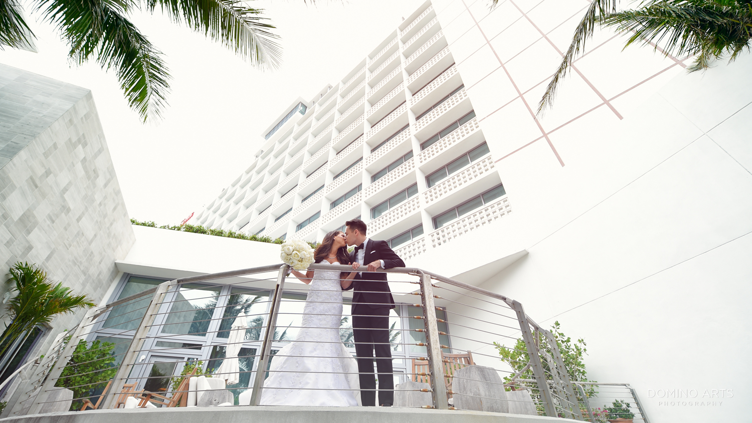 Romantic bride and groom picture at The Miami Beach Edition