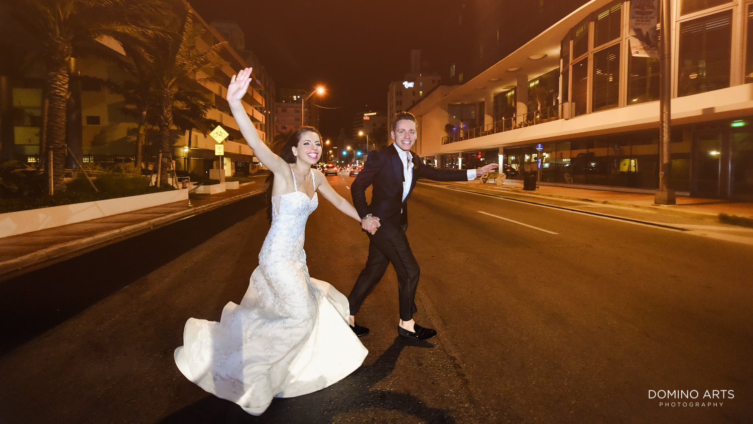 Lifestyle wedding picture of bride and groom at The Miami Beach Edition