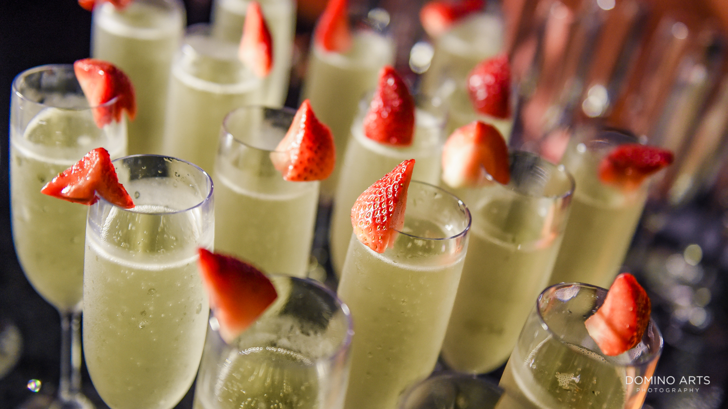 Champagne and strawberries at Circ Hotel Grand Opening Corporate Event in Hollywood, Florida