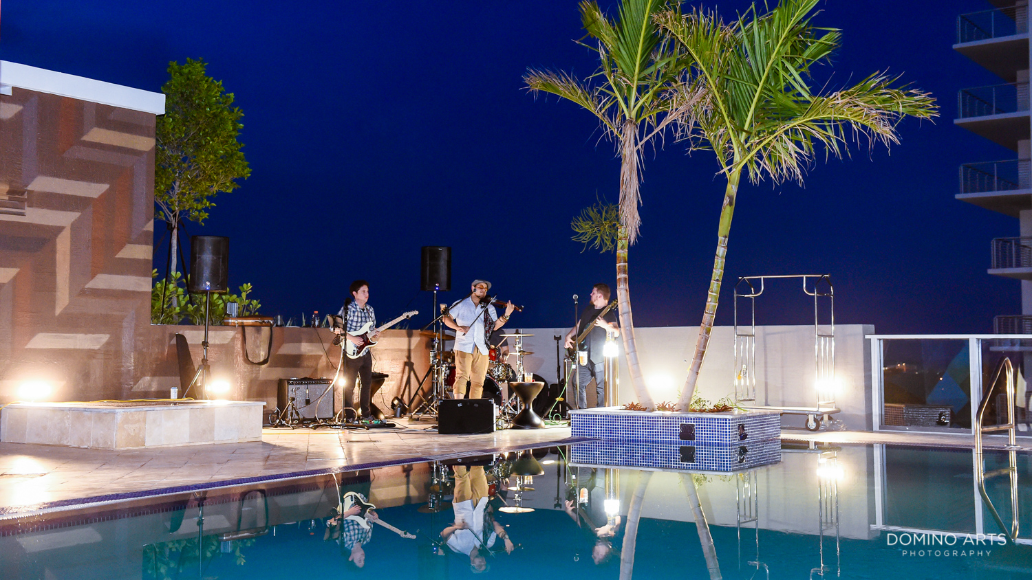Musicians and Pool balcony with amazing views at Circ Hotel Grand Opening Corporate Event in Hollywood, Florida