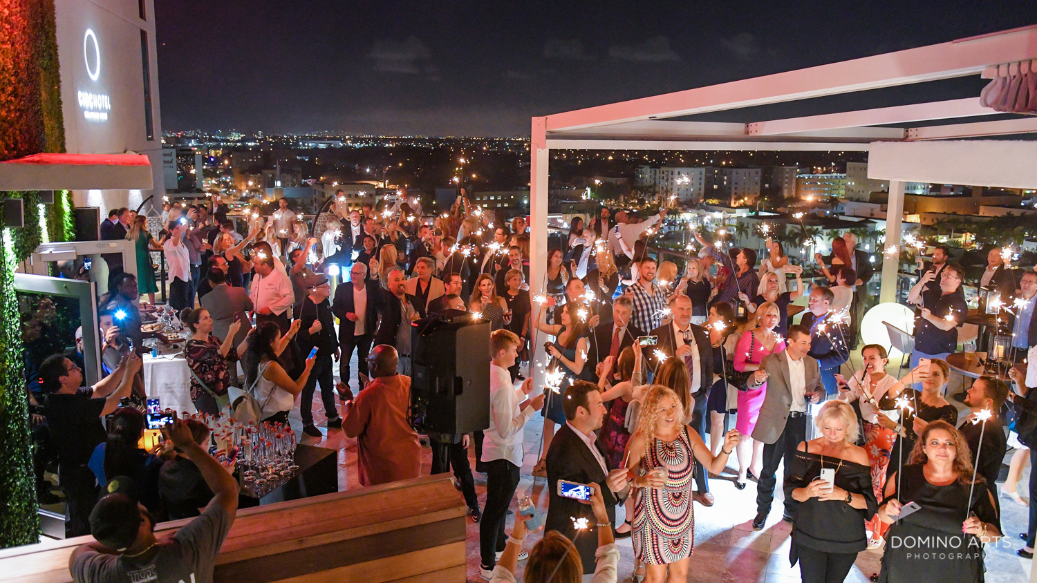 Sparklers and entertainment at Circ Hotel Grand Opening Corporate Event in Hollywood, Florida