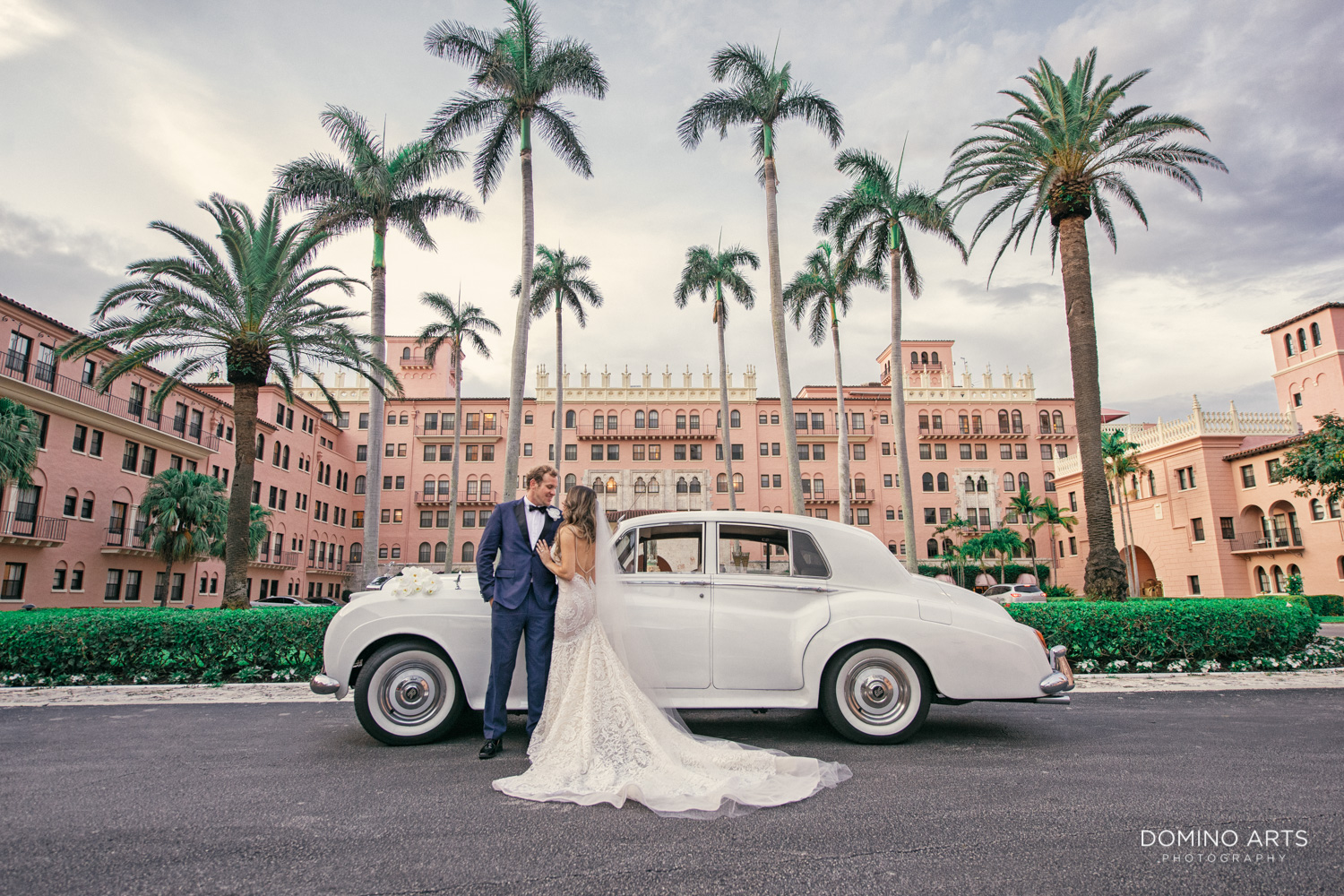 Artistic wedding picture of bride and groom at Boca Raton Resort