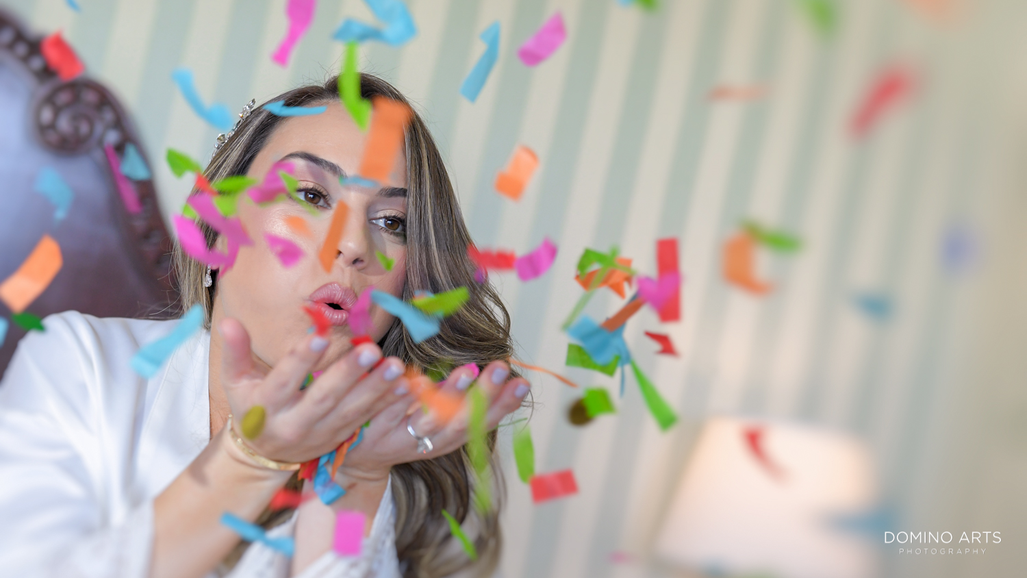Fun bride picture with confetti at Boca Raton Resort