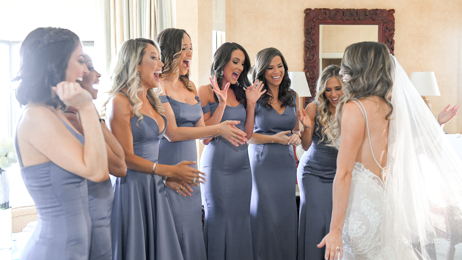 First look of bride and bridesmaids at Boca Raton Resort