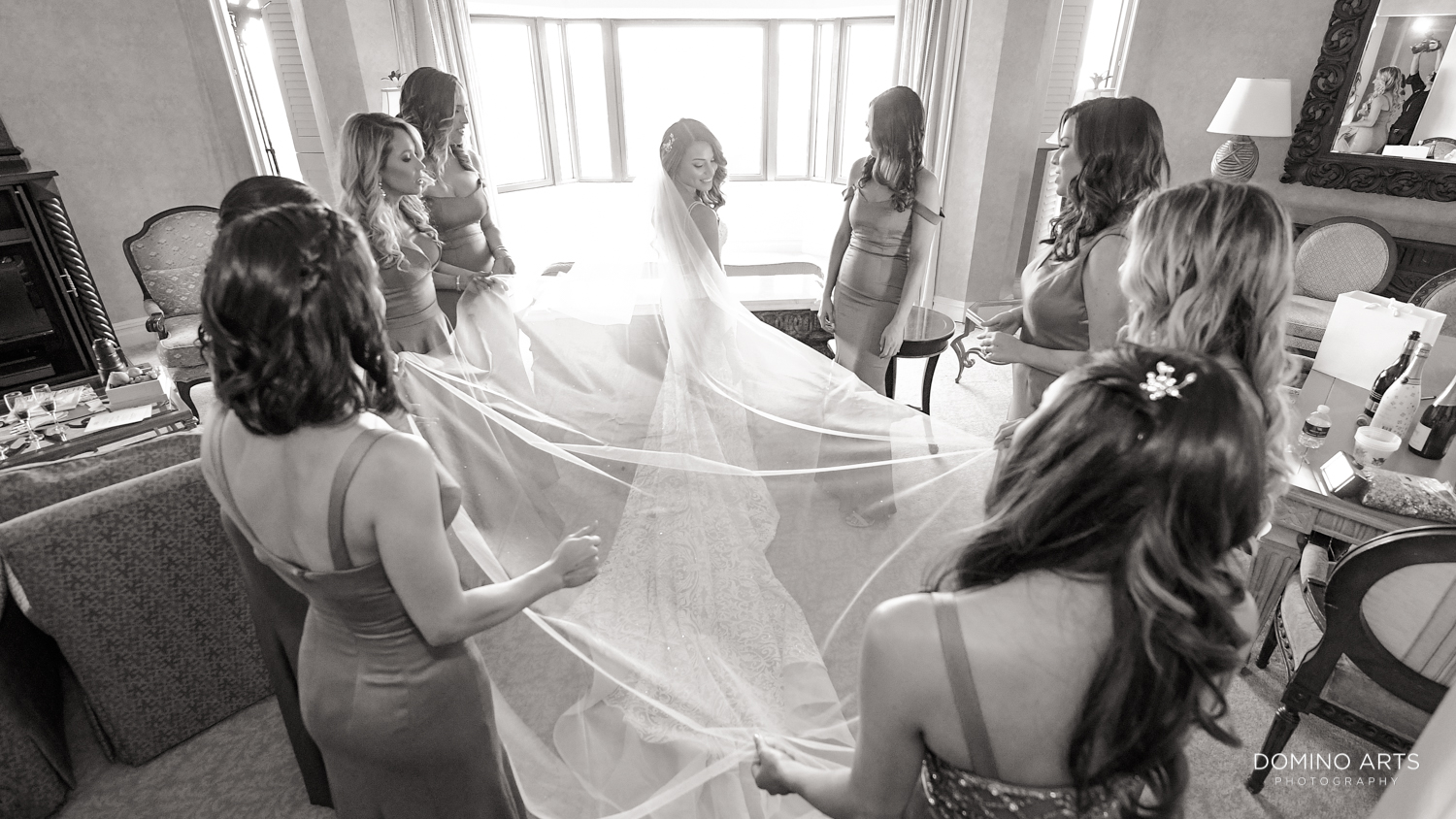 Artistic picture of bride and bridesmaids at Boca Raton Resort