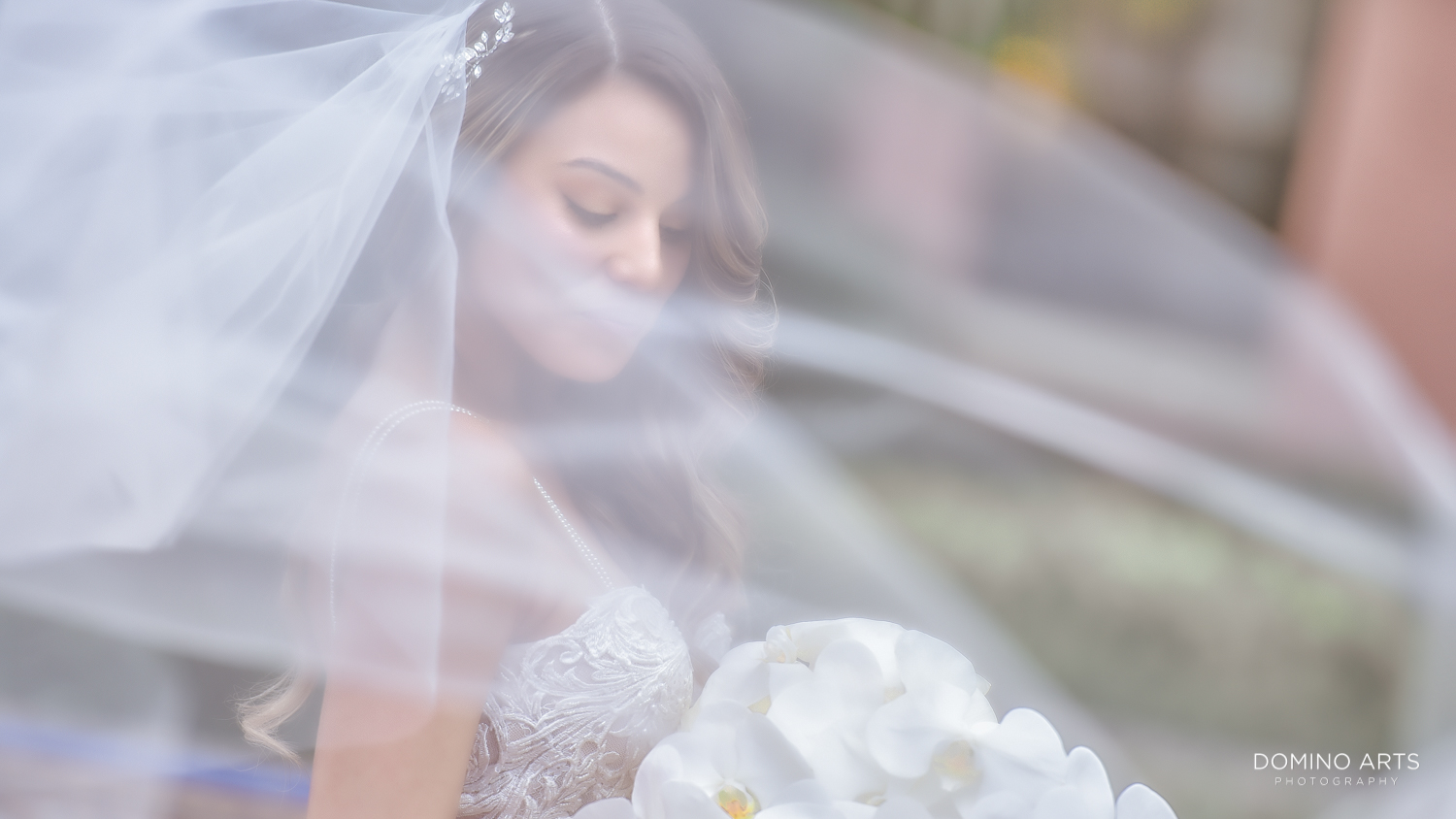 Artistic wedding picture of bride at Boca Raton Resort