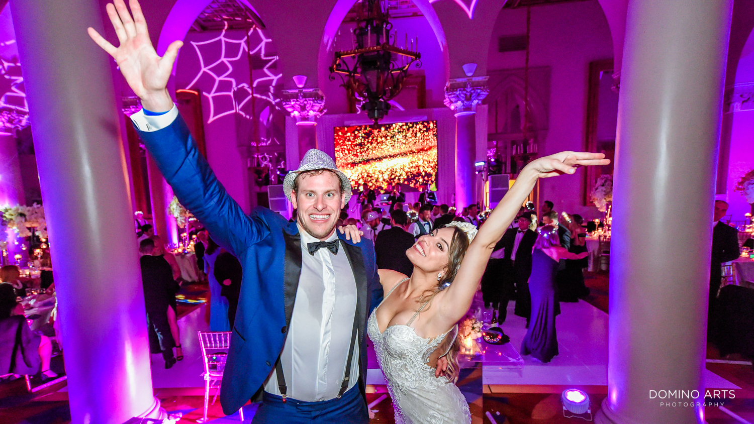 Fun wedding picture of bride and groom at Boca Raton Resort