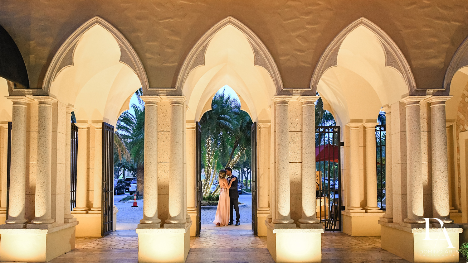 Lifestyle wedding picture of bride and groom at The Addison Boca Raton