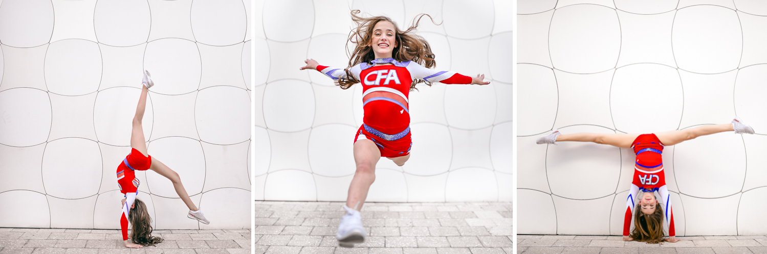 cheerleader theme Pre Session Photography at The Miami Design District by Domino Arts Photography