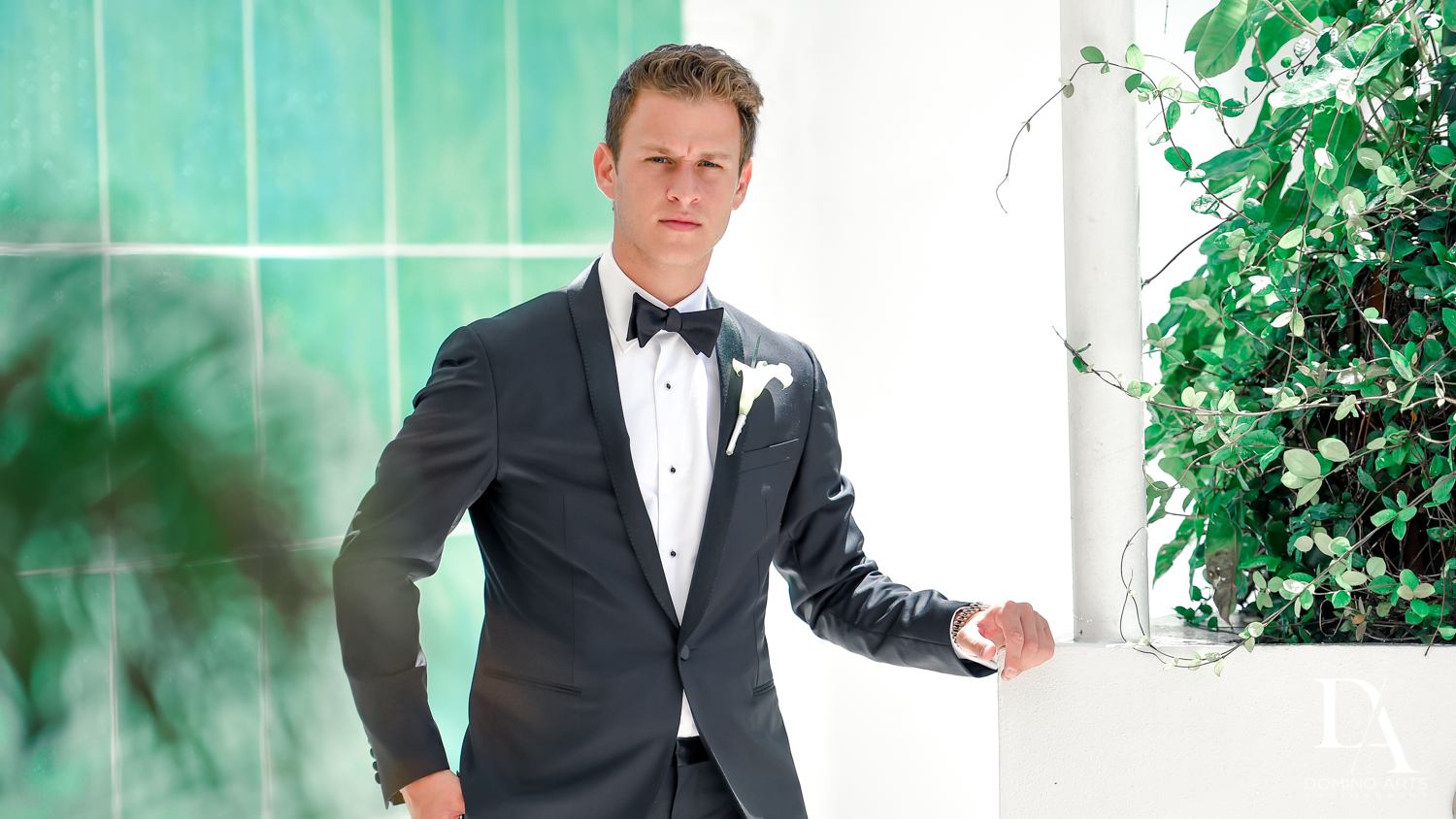 Classic wedding picture of groom at Faena Hotel Miami Beach