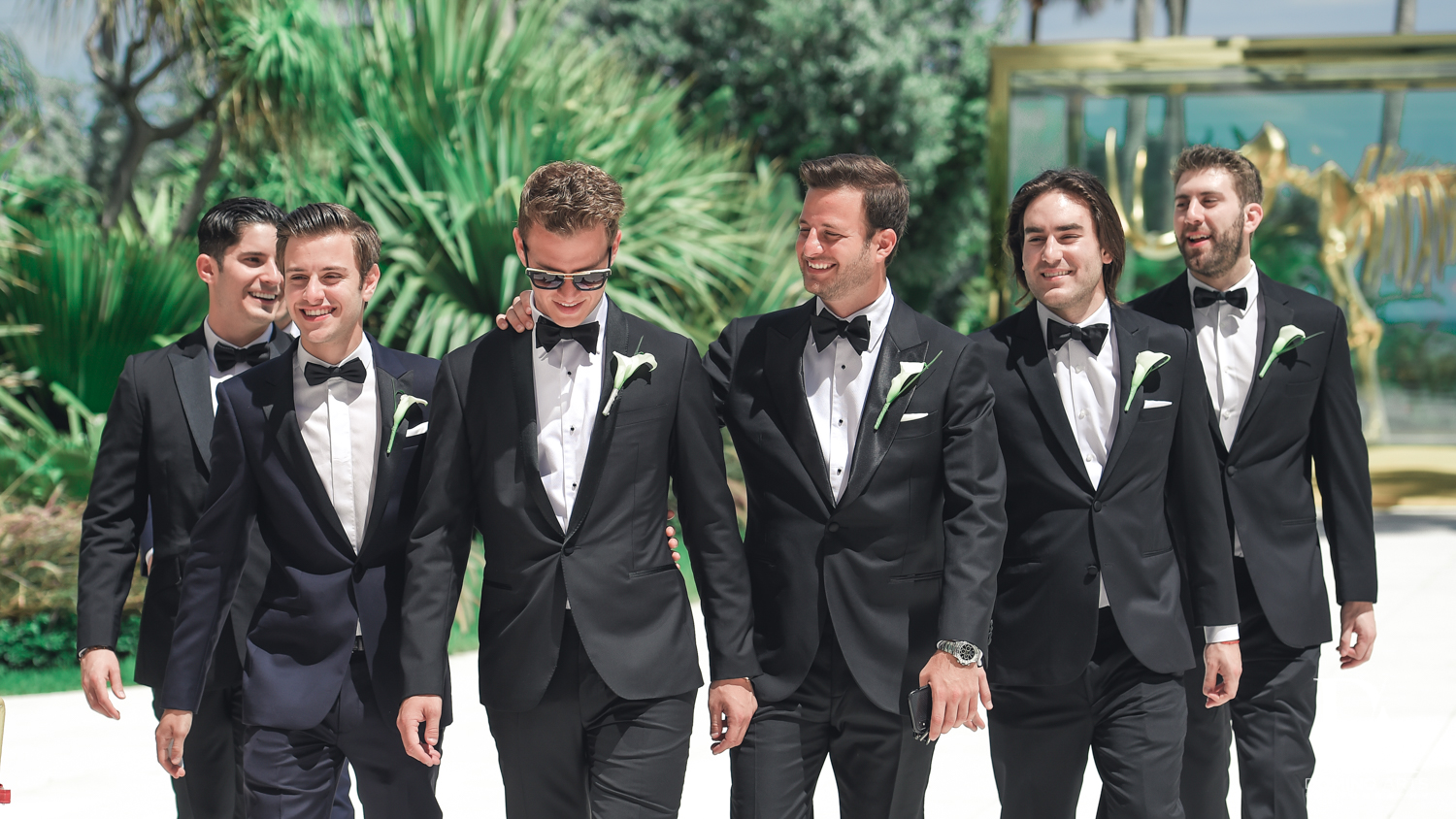 Cool wedding picture of groomsman at Faena Hotel Miami Beach