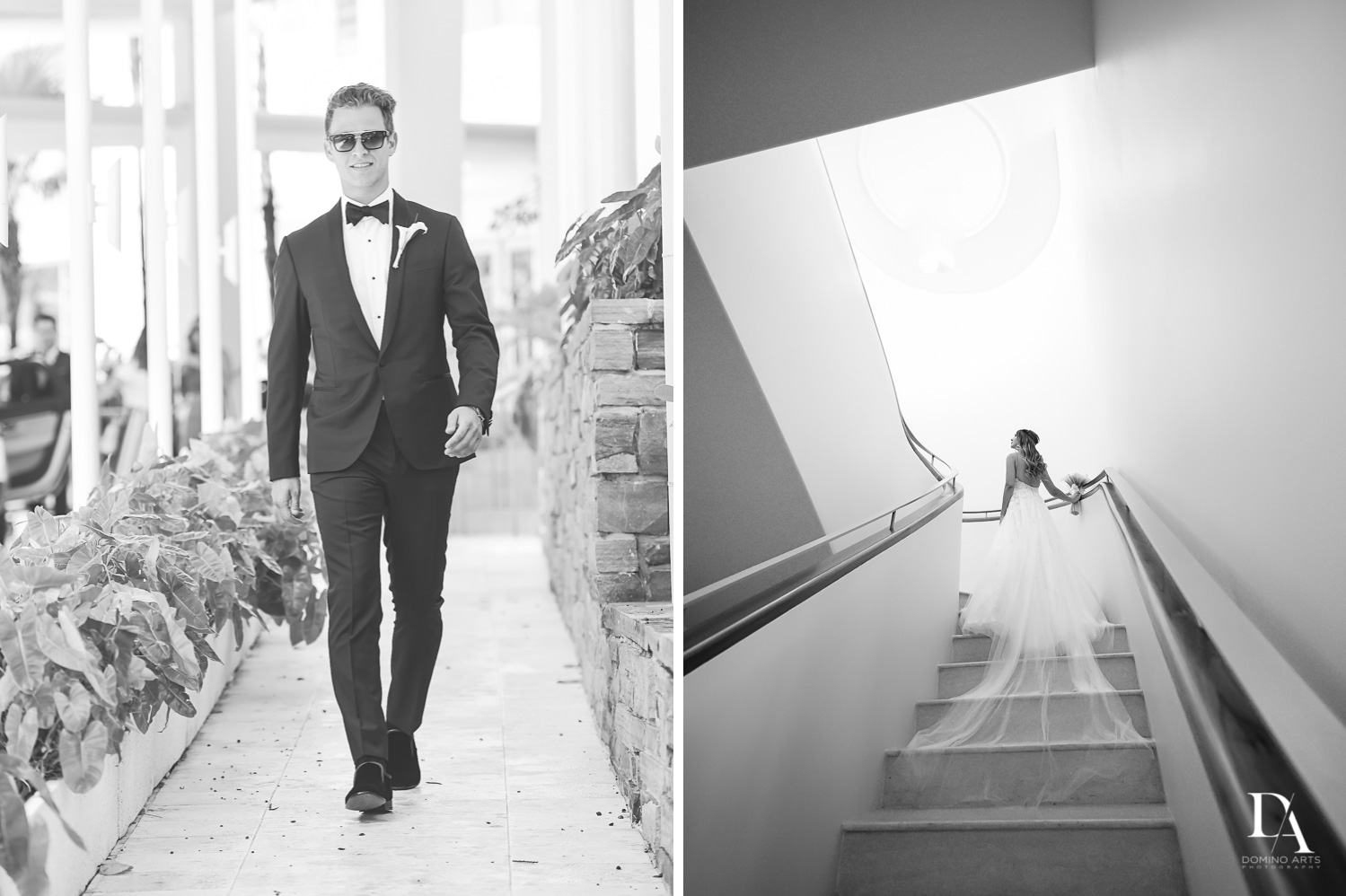 Artistic wedding picture of bride and groom at Faena Hotel Miami Beach