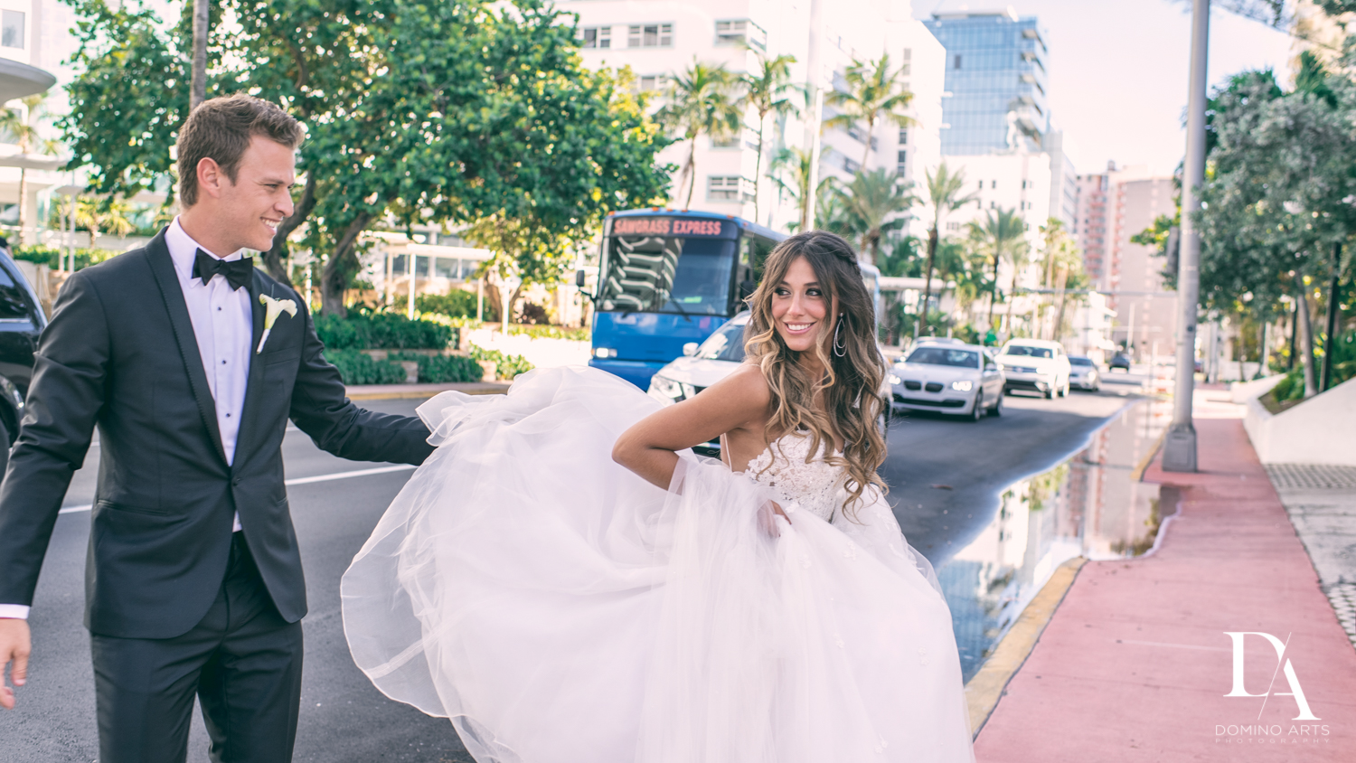 Fun wedding picture of bride and groom at Faena Hotel Miami Beach