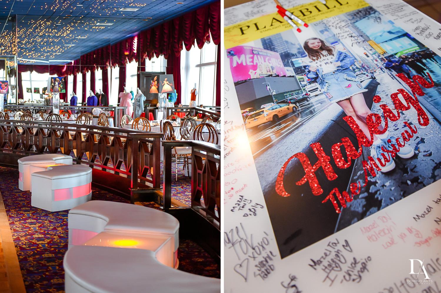 Amazing Decor at Broadway Theme Bat Mitzvah Photography at Miami Beach Resort