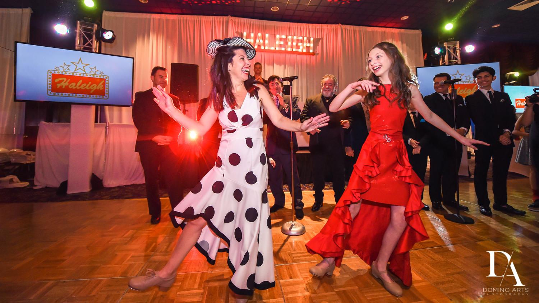 Fun dancing pictures at Broadway Theme Bat Mitzvah Photography at Miami Beach Resort