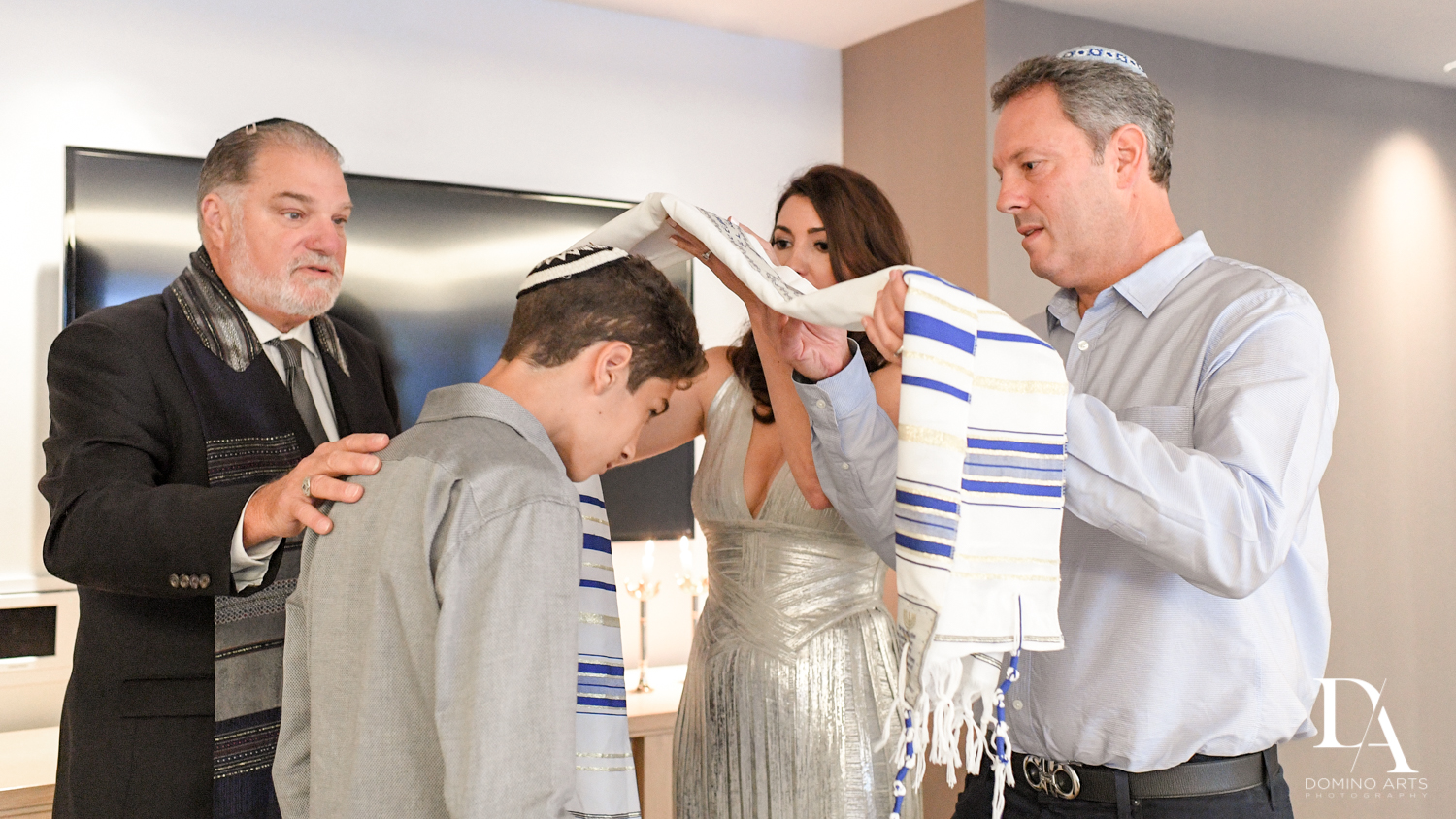 Traditional Miami Bar Mitzvah photography by Domino Arts