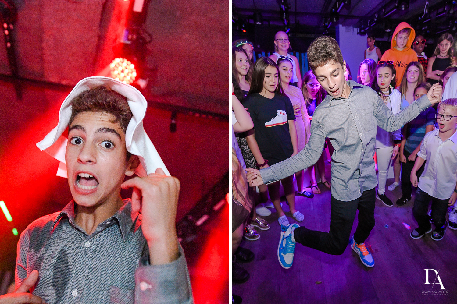 Crazy fun at Nike sneaker theme mitzvah photography at the basement in the Edition Miami by Domino Arts