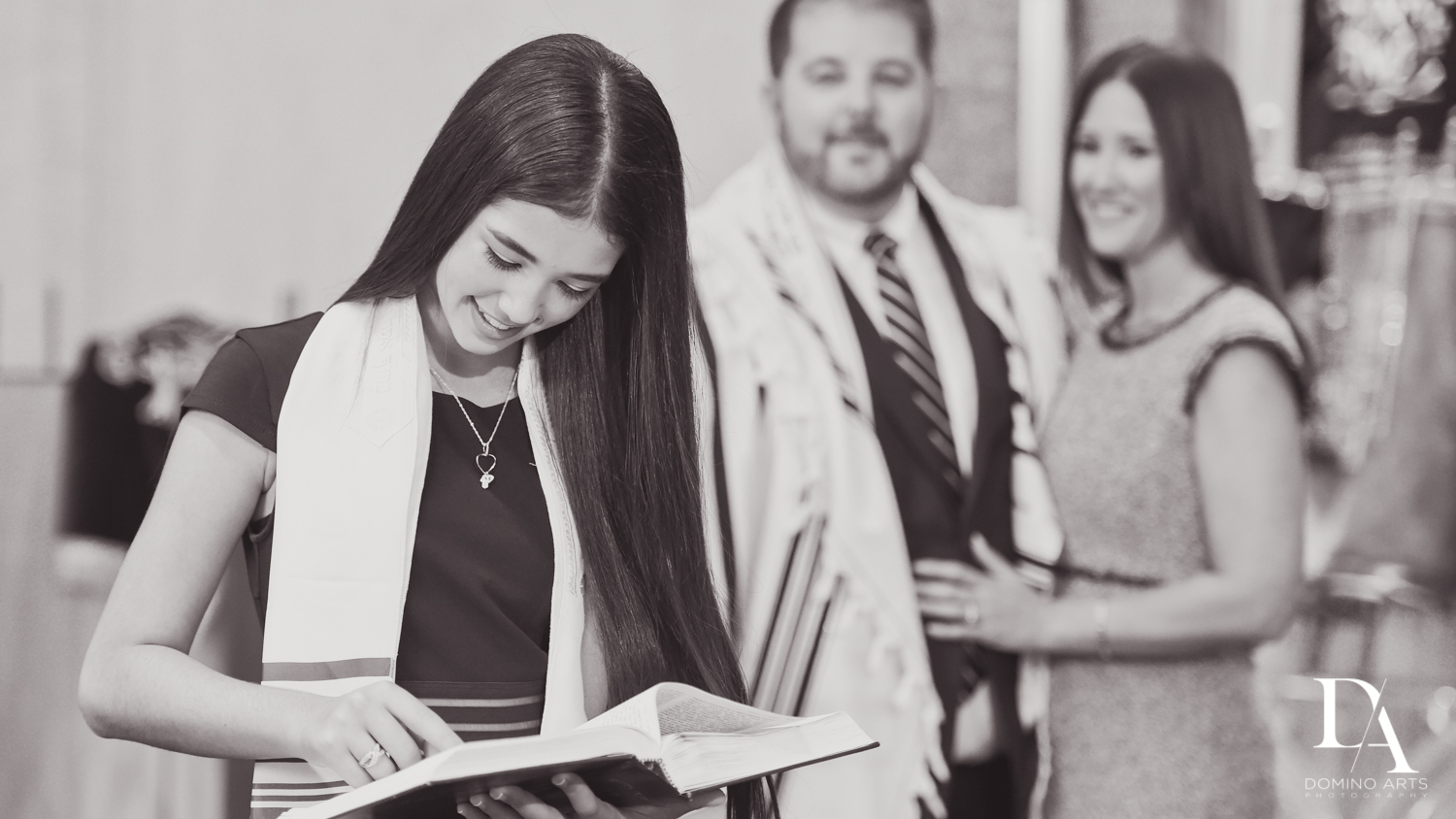 Mitzvah girl reading Torah at Bnai Torah Boca Raton South Florida by Domino Arts Photography