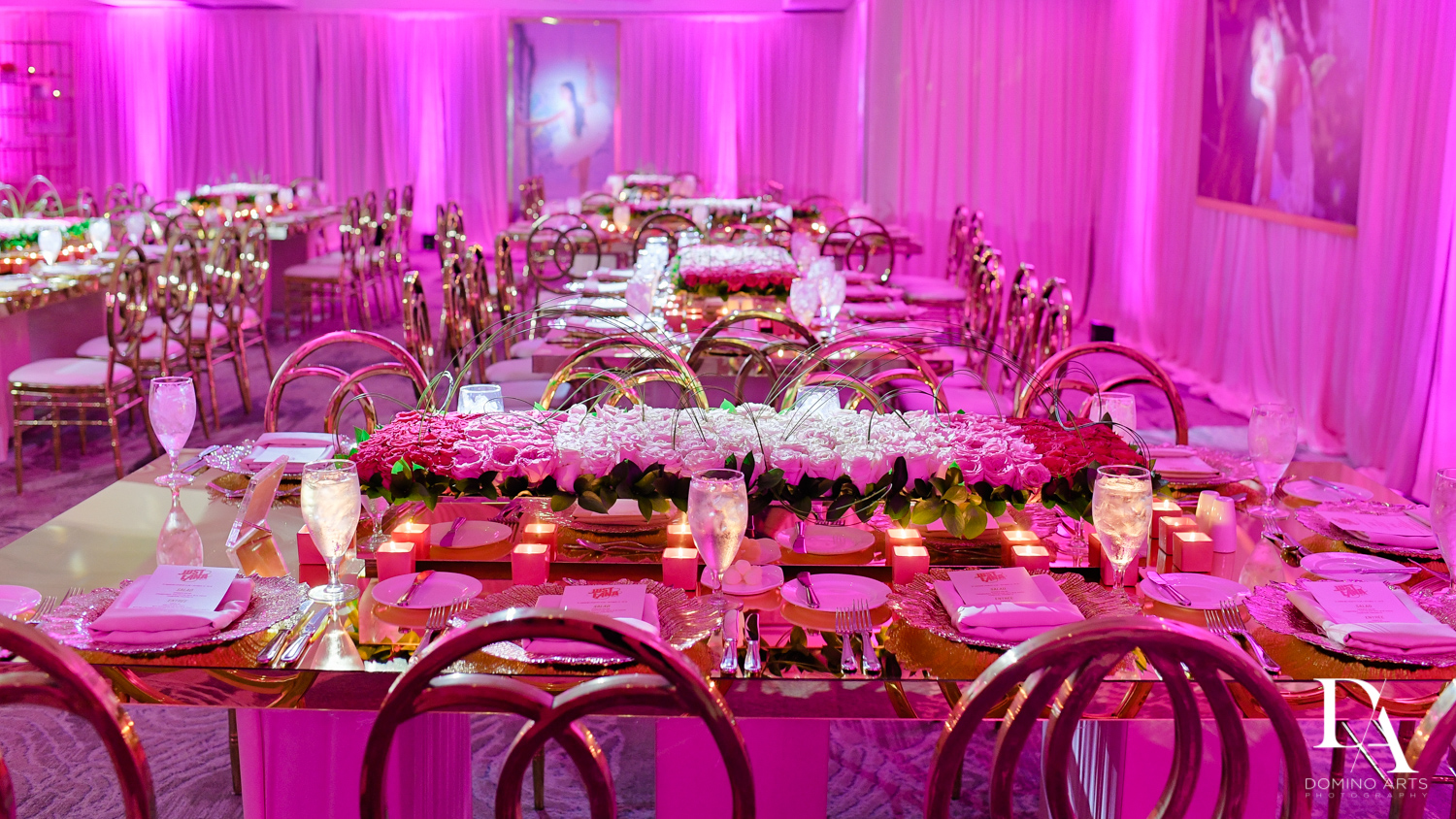 Bat Mitzvah Pink flowers and candles decor at Saint Andrews Country Club South Florida by Domino Arts Photography