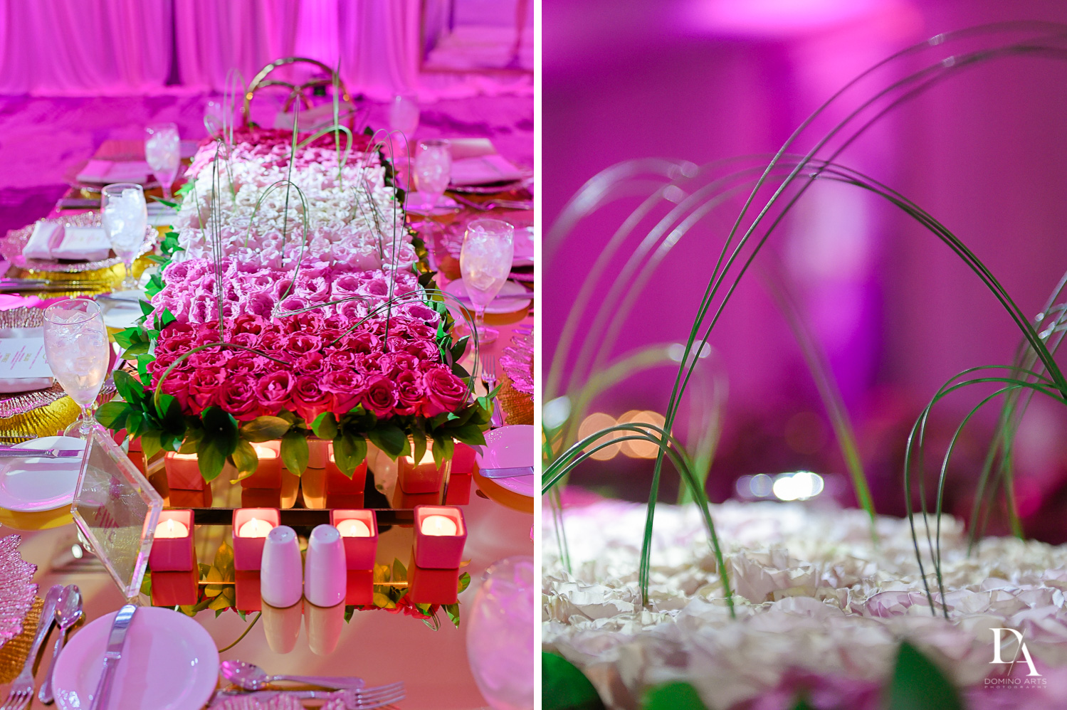 Trendy pink roses and candles bat mitzvah decor at Saint Andrews Country Club South Florida by Domino Arts Photography
