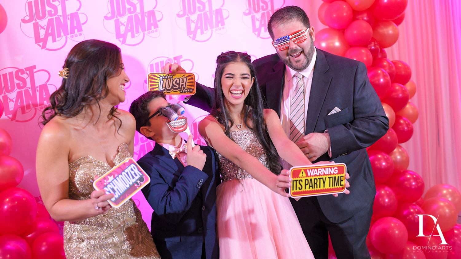 Fun photo booth bat mitzvah at Amazing trendy organic balloon decor at pink bat mitzvah at Saint Andrews Country Club South Florida by Domino Arts Photography