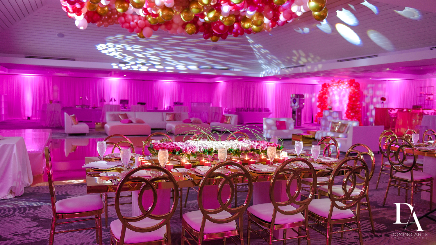 Amazing trendy organic balloon decor at pink bat mitzvah at Saint Andrews Country Club South Florida by Domino Arts Photography