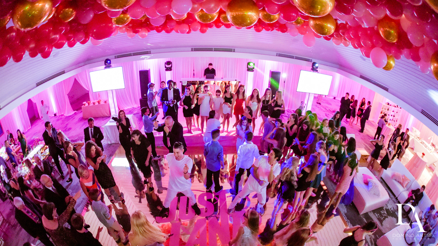 Best mitzvah pink balloon decor at Bat Mitzvah at Saint Andrews Country Club South Florida by Domino Arts Photography