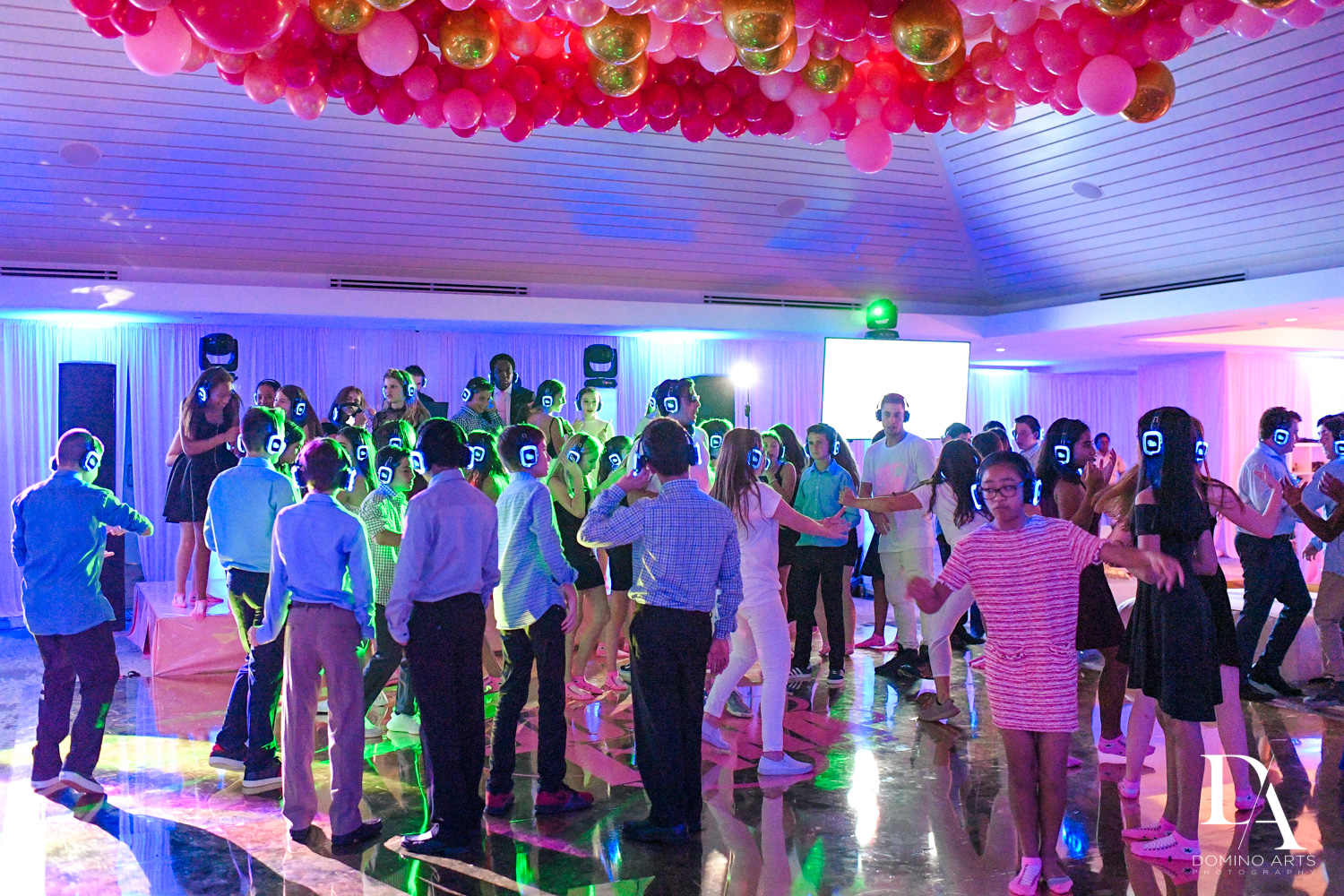 Latest trend Silent party with headphones at Bat Mitzvah at Saint Andrews Country Club South Florida by Domino Arts Photography