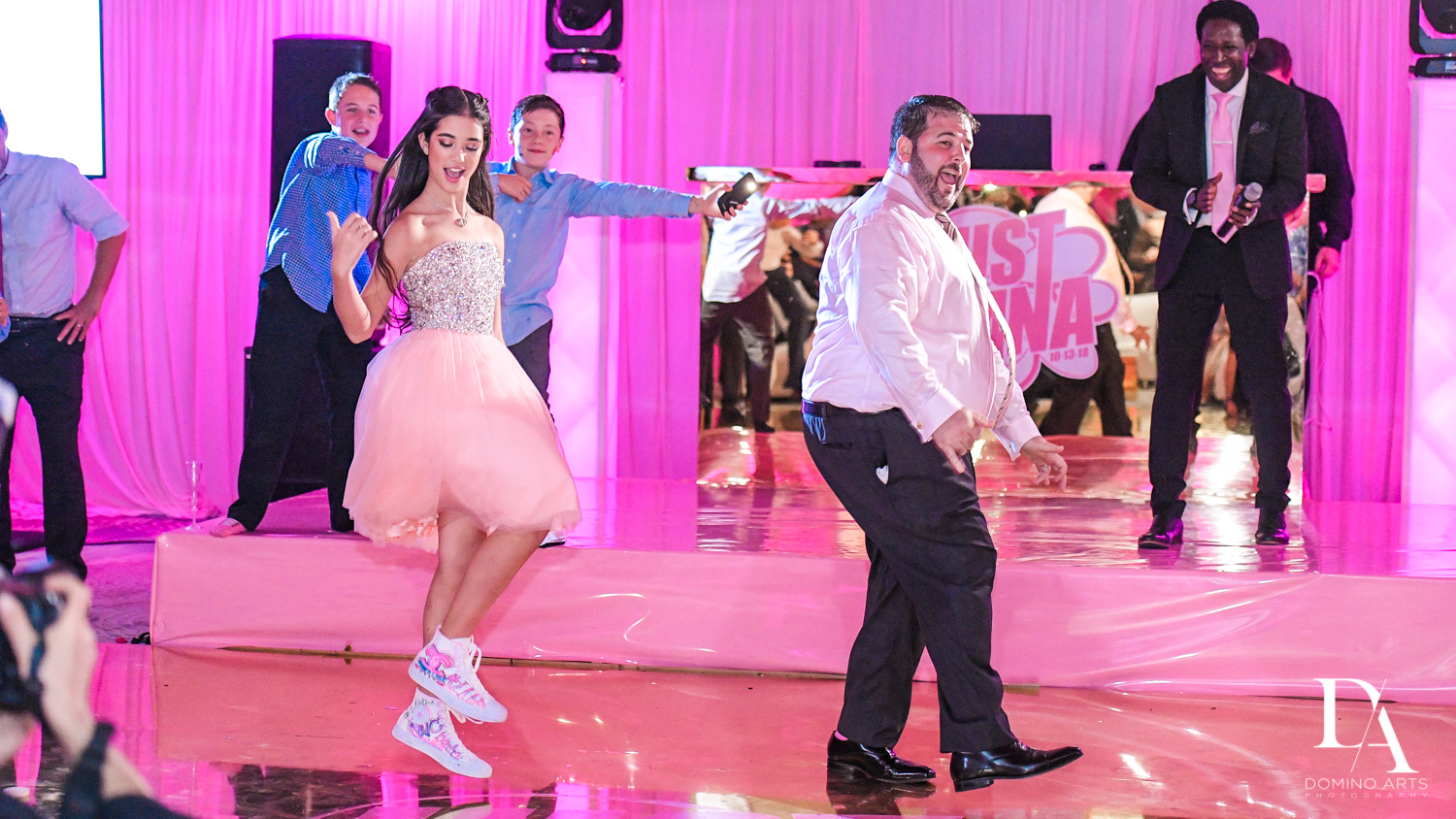 Fun father daughter dance at Bat Mitzvah at Saint Andrews Country Club South Florida by Domino Arts Photography