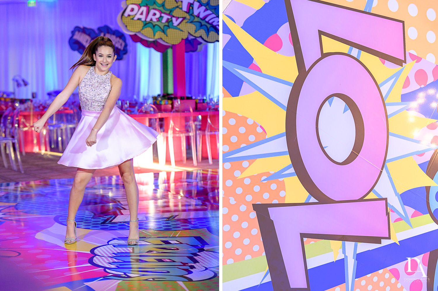 Colorful pop art decor at Bnot Mitzvah Royal Yacht Club by Domino Arts Photography