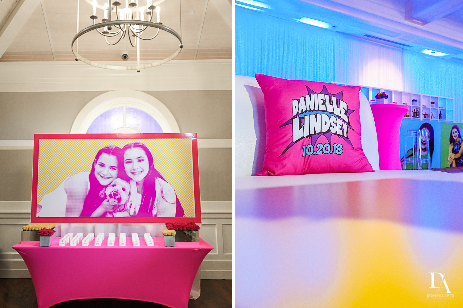 decor pics at Colorful pop art  Bnot Mitzvah at Royal Yacht Club by Domino Arts Photography
