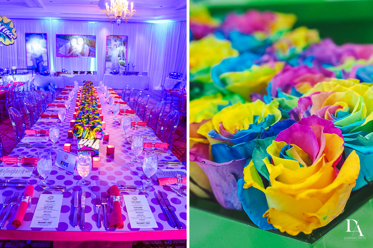 colorful decor at Colorful pop art  Bnot Mitzvah at Royal Yacht Club by Domino Arts Photography