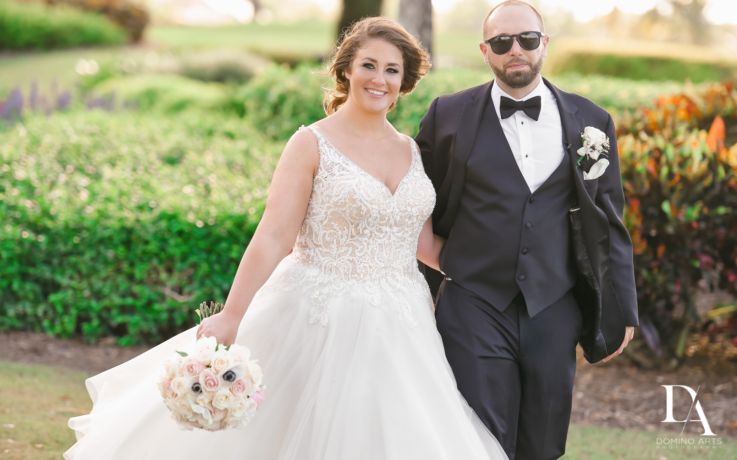 Couple at Romantic Outdoors Wedding at Woodfield Country Club in Boca Raton, Florida