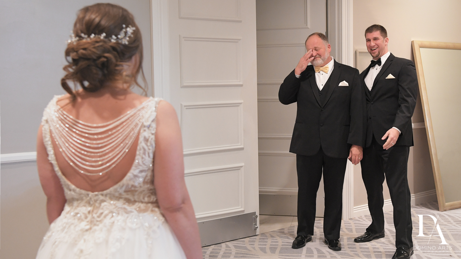 Dad and daughter first look at Romantic Outdoors Wedding at Woodfield Country Club in Boca Raton, Florida