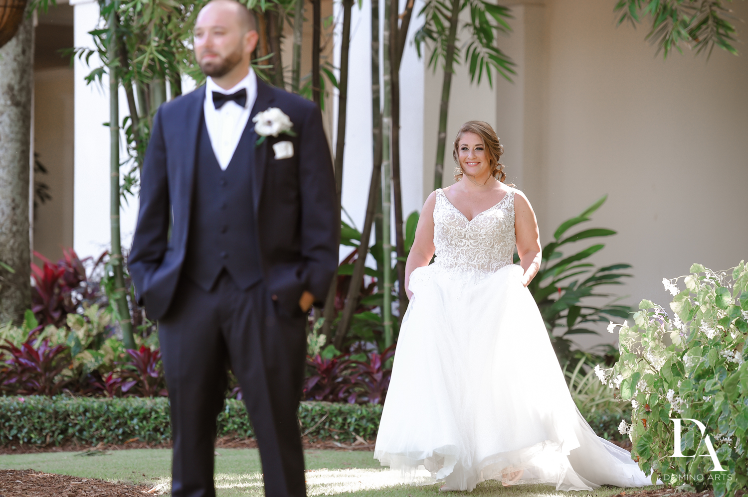 First meeting at Romantic Outdoors Wedding at Woodfield Country Club in Boca Raton, Florida